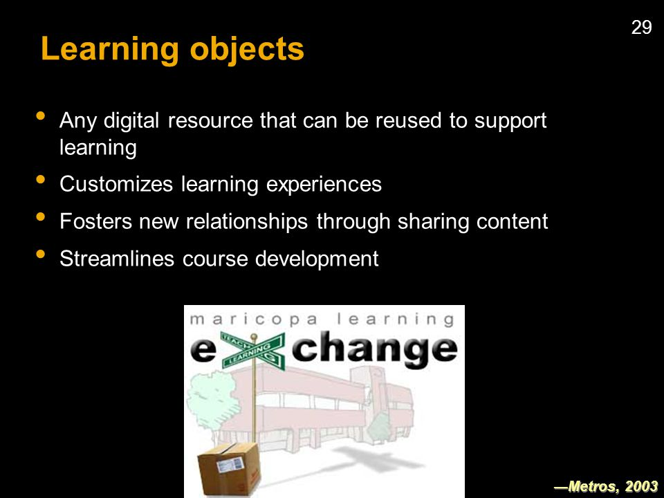 29 Learning objects Any digital resource that can be reused to support learning Customizes learning experiences Fosters new relationships through sharing content Streamlines course development Metros, 2003