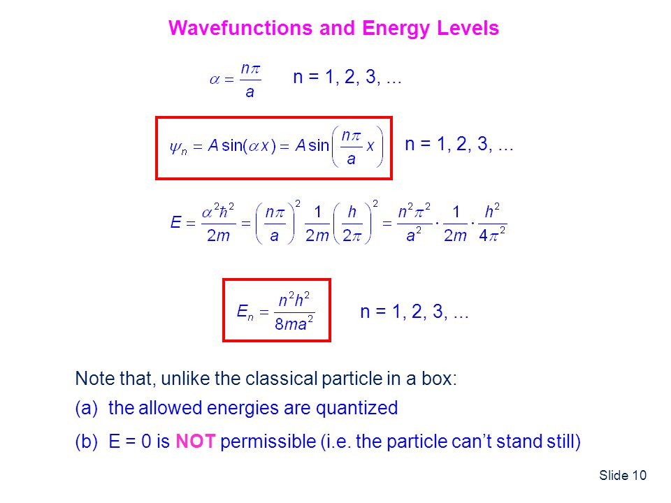 Slide 10 Wavefunctions and Energy Levels Note that, unlike the classical particle in a box: (a) the allowed energies are quantized (b) E = 0 is NOT pe