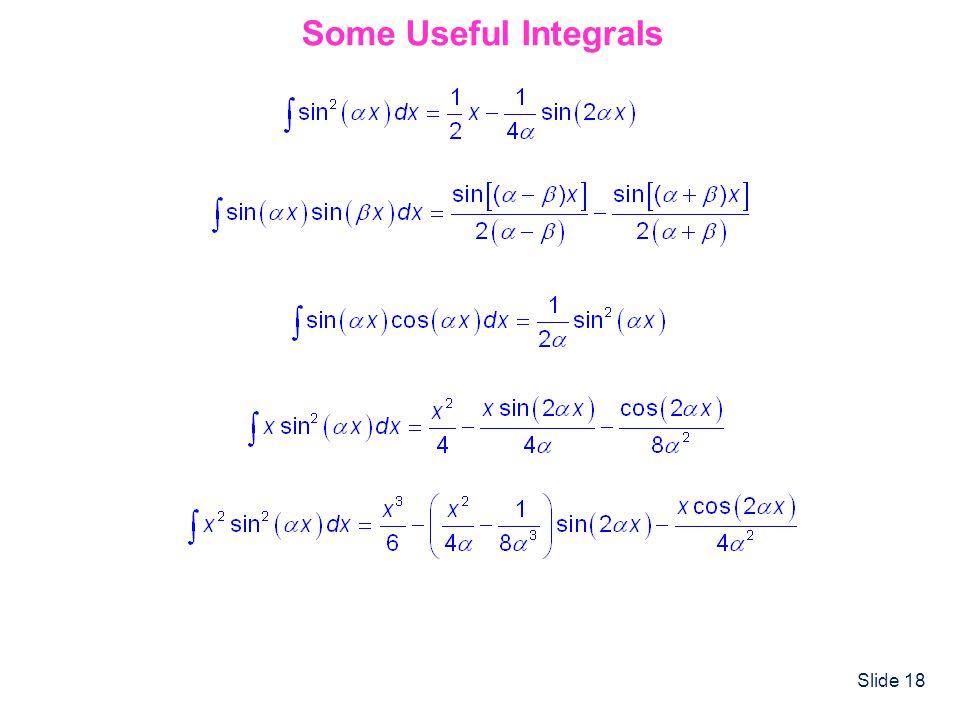 Slide 18 Some Useful Integrals