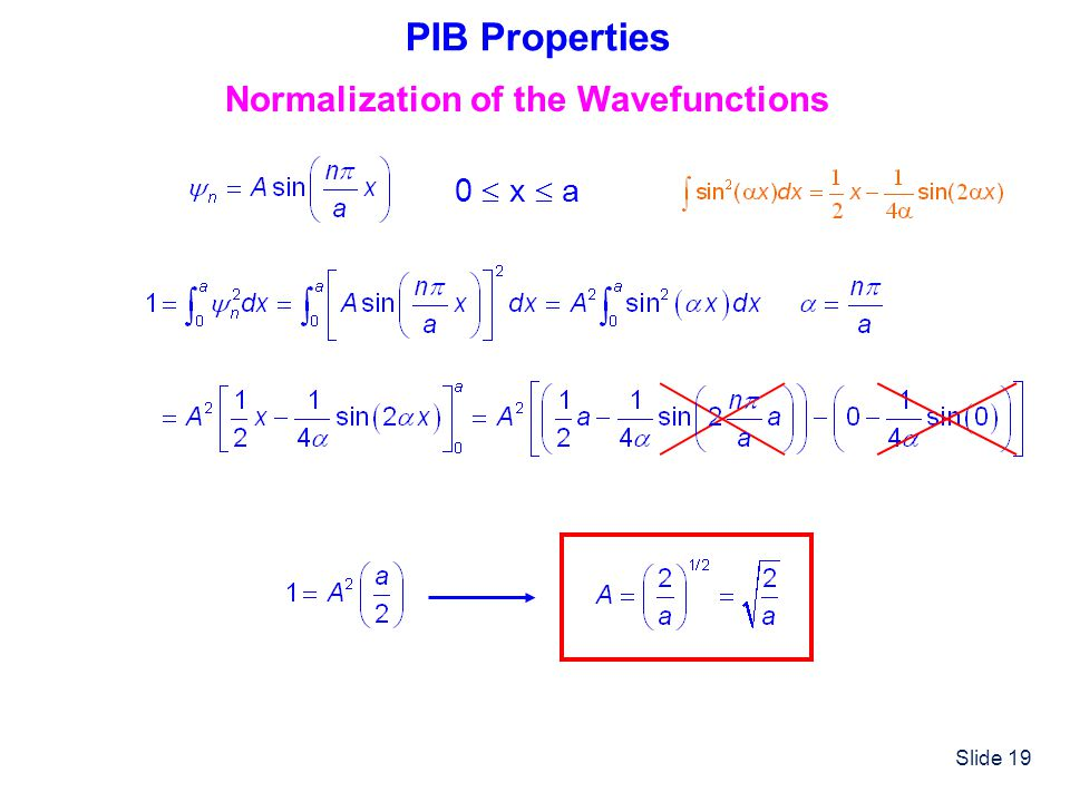 Slide 19 PIB Properties Normalization of the Wavefunctions 0 x a