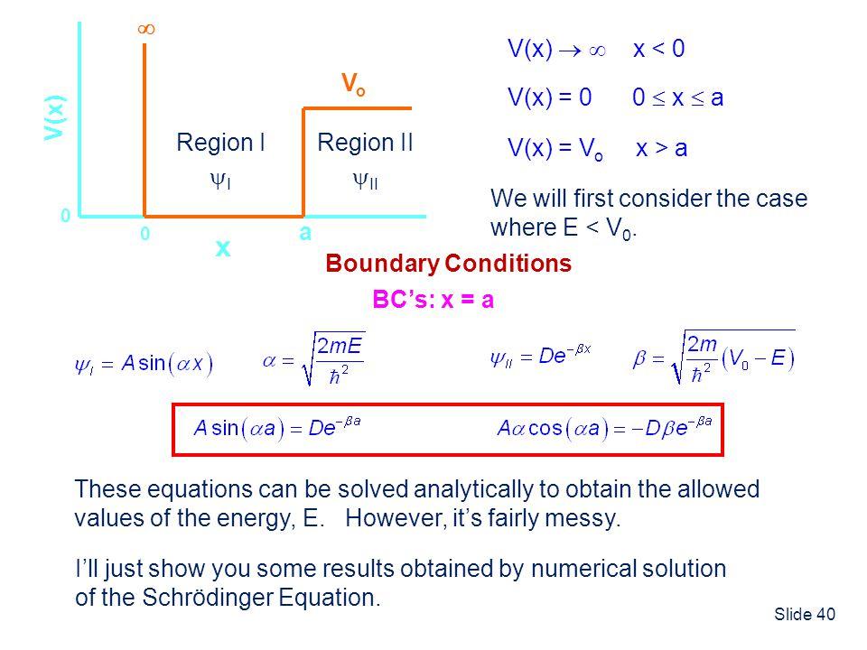 Slide 40 x V(x) 0 a 0 V(x) = 0 0 x a V(x) x < 0 VoVo V(x) = V o x > a We will first consider the case where E < V 0. Region I I Region II II These equ