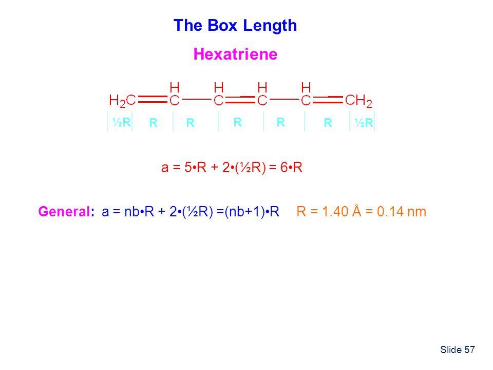 Slide 57 The Box Length a = 5R + 2(½R) = 6R R ½R½R ½R½R RR RR Hexatriene General: a = nbR + 2(½R) =(nb+1)RR = 1.40 Å = 0.14 nm