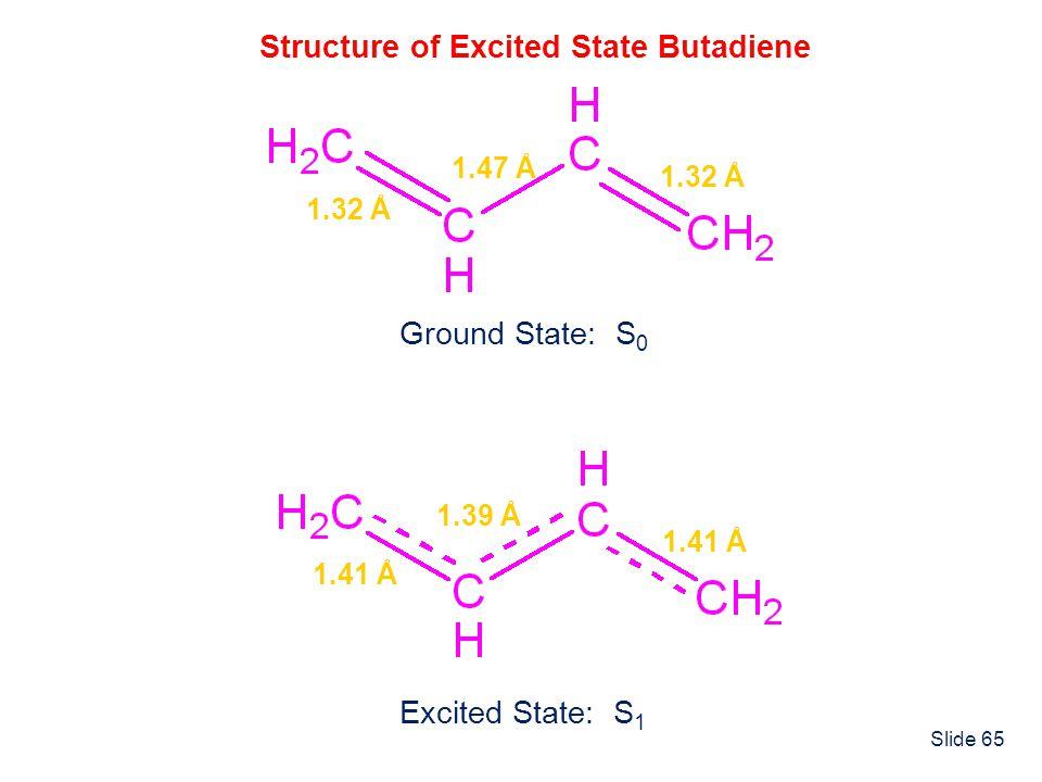 Slide 65 Structure of Excited State Butadiene 1.32 Å 1.47 Å Ground State: S 0 1.41 Å 1.39 Å Excited State: S 1