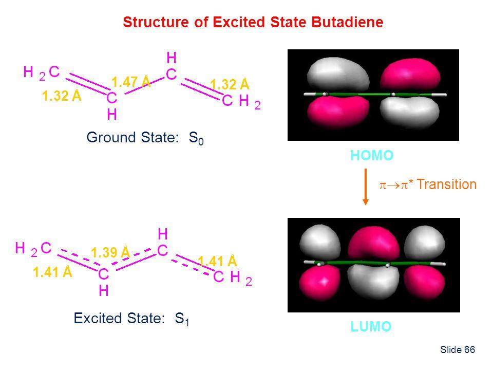 Slide 66 Structure of Excited State Butadiene 1.32 Å 1.47 Å Ground State: S 0 1.41 Å 1.39 Å Excited State: S 1 HOMO LUMO * Transition