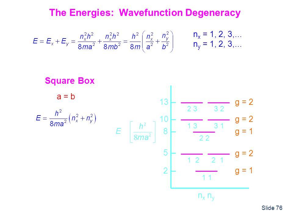 Slide 76 The Energies: Wavefunction Degeneracy n x = 1, 2, 3,... n y = 1, 2, 3,... Square Box a = b n x n y 1 2 5 1 22 1 g = 1 8 2 g = 1 10 1 33 1 g =