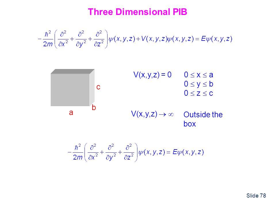 Slide 78 a b c V(x,y,z) = 0 0 x a 0 y b 0 z c V(x,y,z) Outside the box Three Dimensional PIB