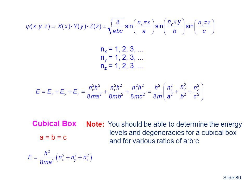 Slide 80 n x = 1, 2, 3,... n y = 1, 2, 3,... n z = 1, 2, 3,... Cubical Box a = b = c Note: You should be able to determine the energy levels and degen