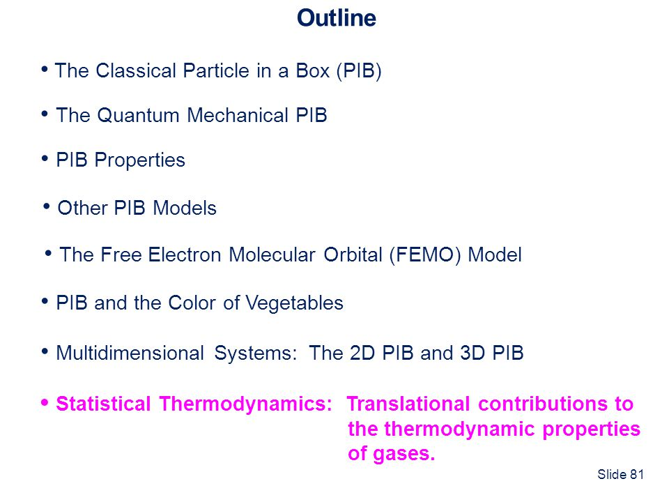 Slide 81 Outline The Classical Particle in a Box (PIB) The Quantum Mechanical PIB PIB and the Color of Vegetables PIB Properties Multidimensional Syst