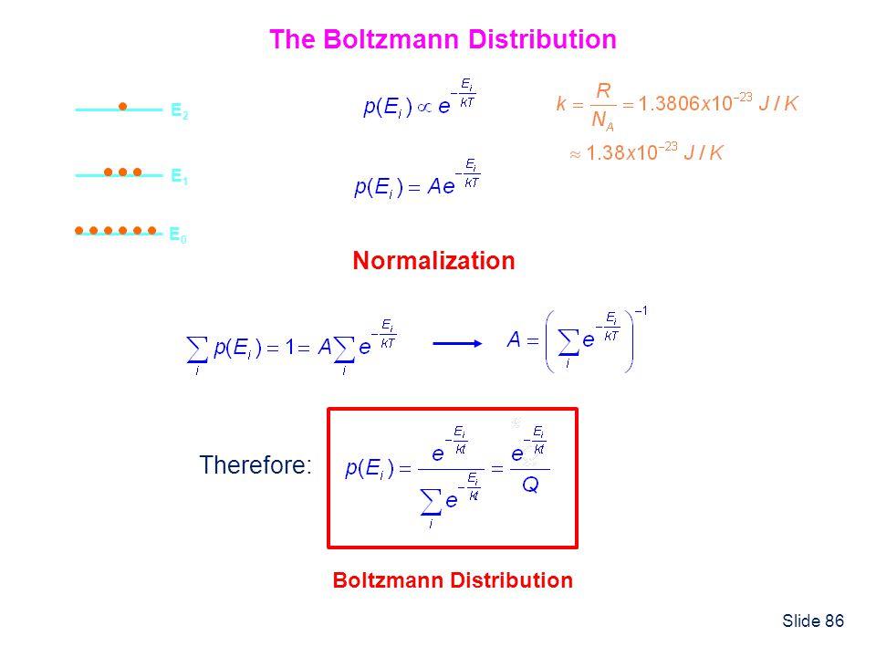 Slide 86 The Boltzmann Distribution E0E0 E1E1 E2E2 Normalization Therefore: Boltzmann Distribution