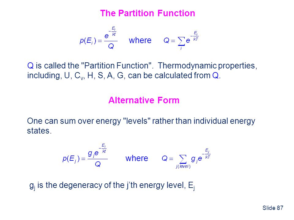Slide 87 The Partition Function Q is called the