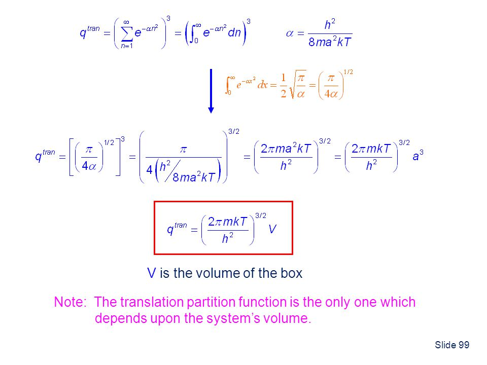 Slide 99 V is the volume of the box Note: The translation partition function is the only one which depends upon the systems volume.