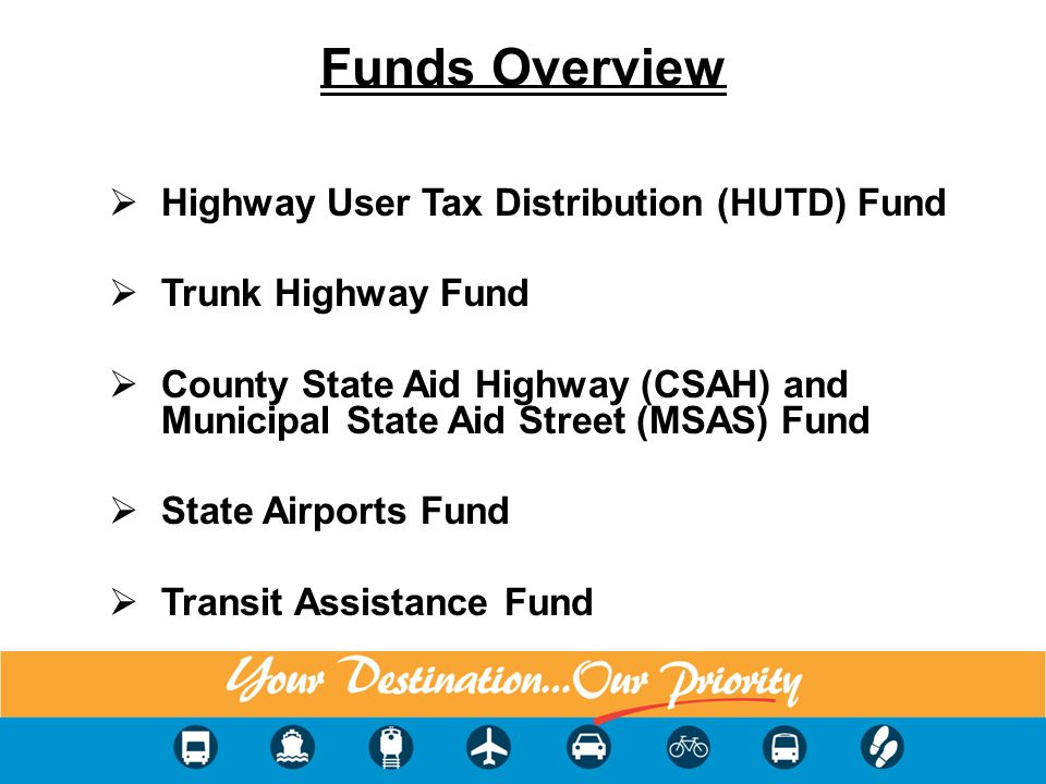 Funds Overview Highway User Tax Distribution (HUTD) Fund Trunk Highway Fund County State Aid Highway (CSAH) and Municipal State Aid Street (MSAS) Fund State Airports Fund Transit Assistance Fund 3