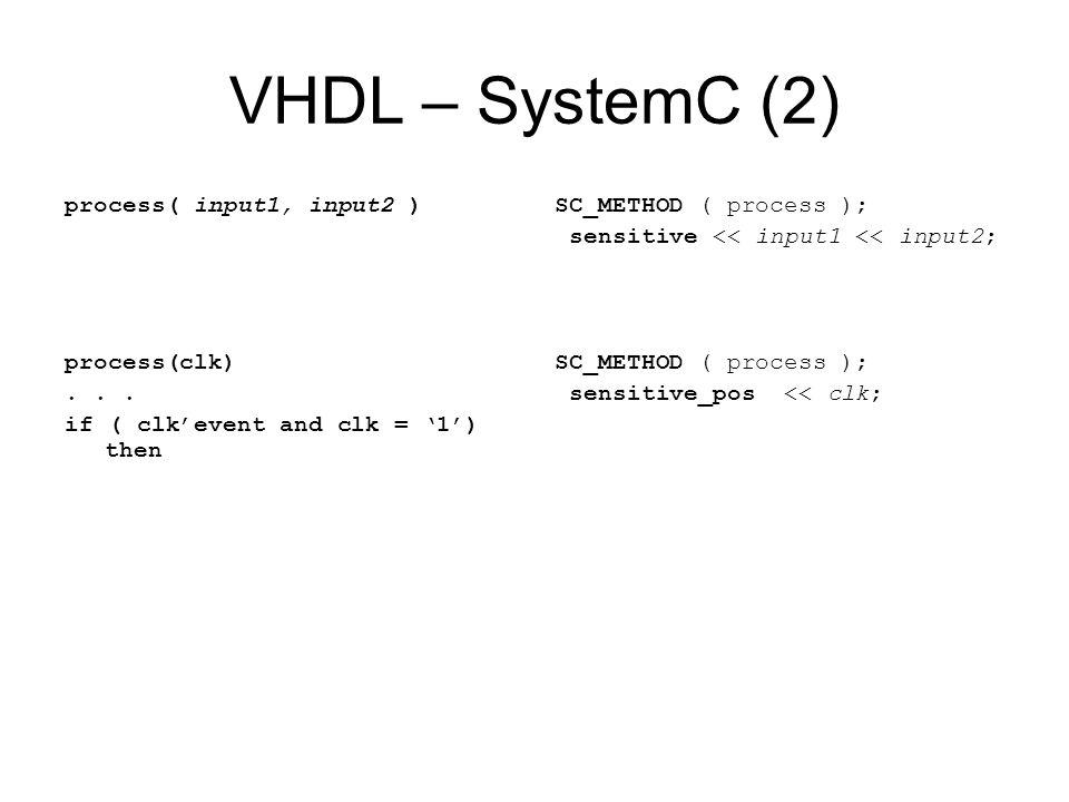 VHDL – SystemC (2) process( input1, input2 ) process(clk)... if ( clkevent and clk = 1) then SC_METHOD ( process ); sensitive << input1 << input2; SC_