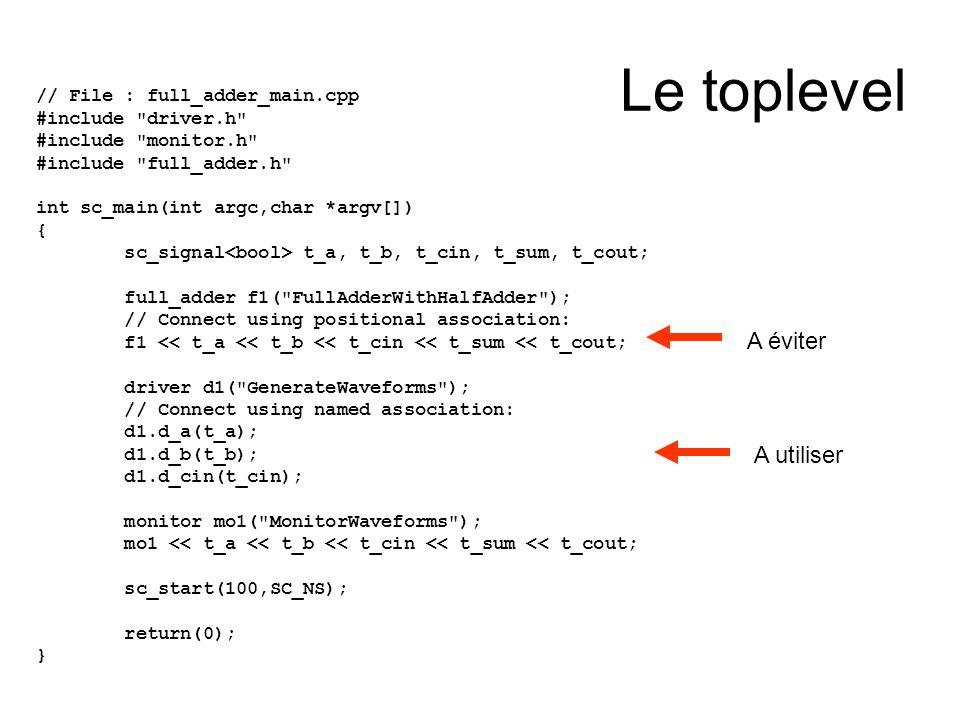cst0_32.h #ifndef _CST0_32_H #define _CST0_32_H #include systemc.h SC_MODULE(cst0_32) { sc_out > S; SC_CTOR(cst0_32) { SC_METHOD(mWrite); } void mWrite() { S.write(0) ; } }; #endif Utilisé pour générer la constante 0