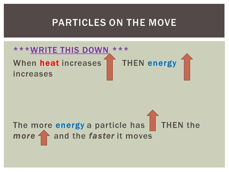 ***WRITE THIS DOWN *** When heat increases THEN energy increases The more energy a particle has THEN the more and the faster it moves PARTICLES ON THE