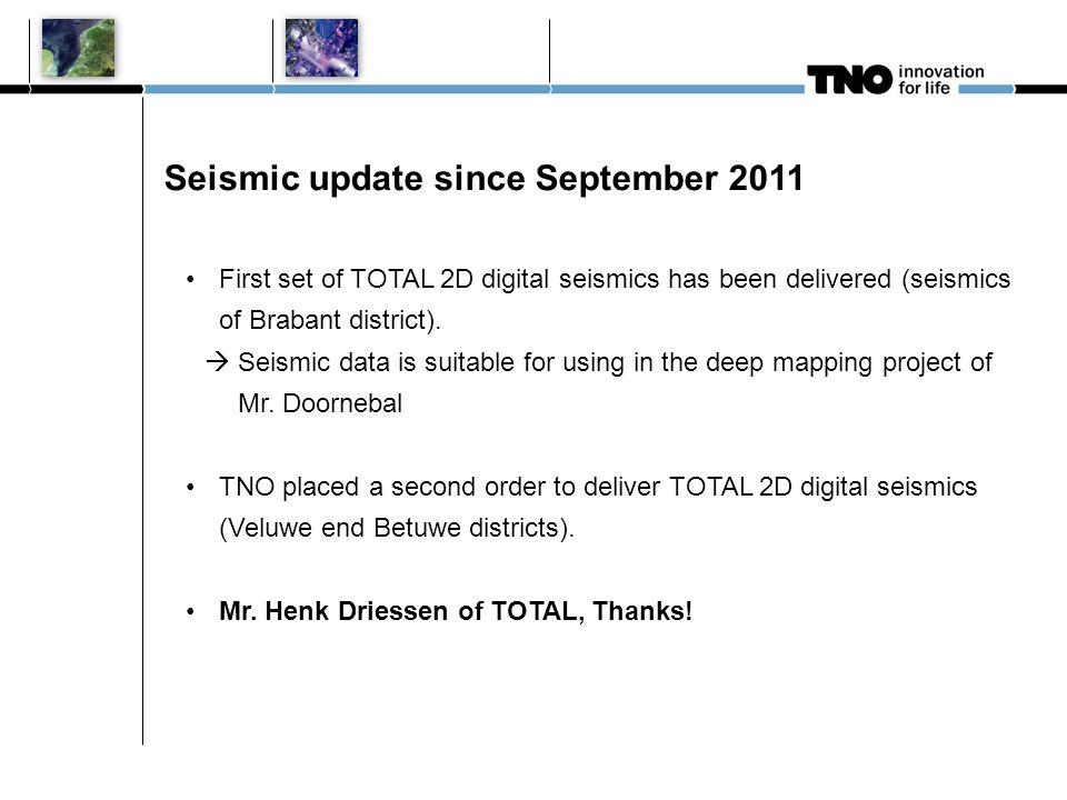 Seismic update since September 2011 First set of TOTAL 2D digital seismics has been delivered (seismics of Brabant district).