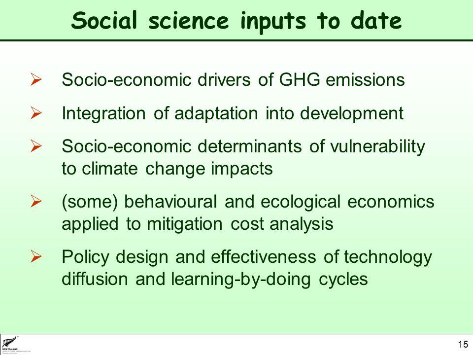 15 Social science inputs to date Socio-economic drivers of GHG emissions Integration of adaptation into development Socio-economic determinants of vul