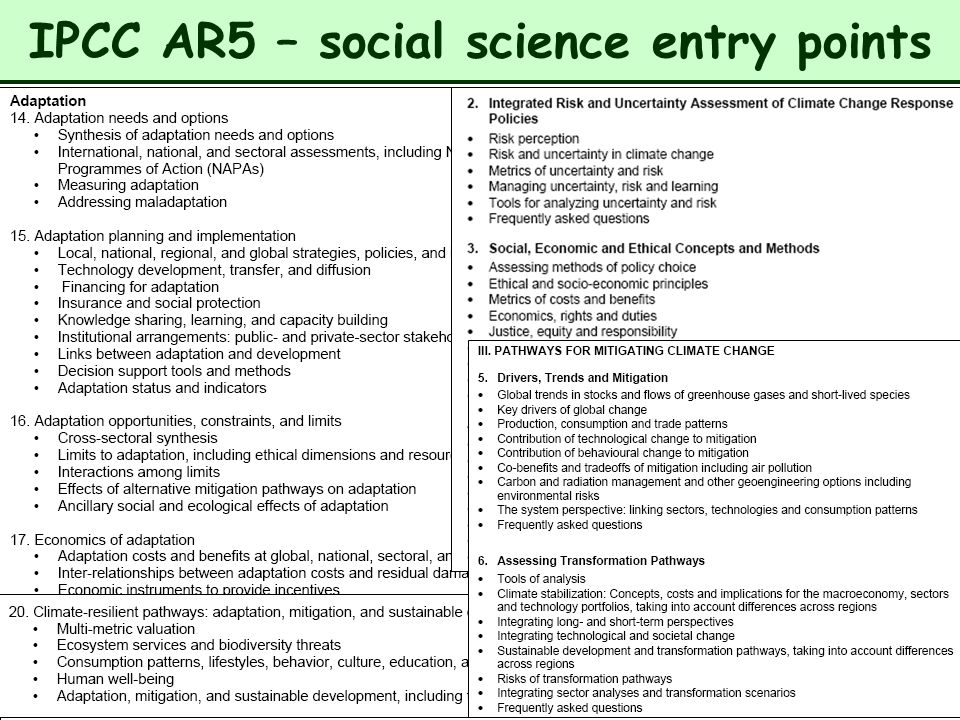 16 IPCC AR5 – social science entry points
