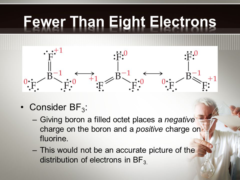 Consider BF 3 : – Giving boron a filled octet places a negative charge on the boron and a positive charge on fluorine. – This would not be an accurate