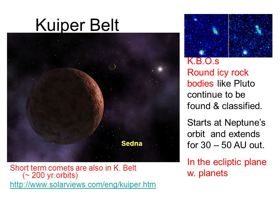 Kuiper Belt Short term comets are also in K. Belt (~ 200 yr.orbits) http://www.solarviews.com/eng/kuiper.htm K.B.O.s Round icy rock bodies like Pluto