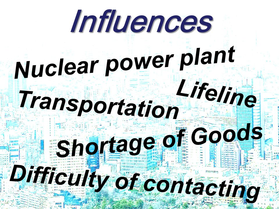 Nuclear power plantNuclear power plant Lifeline Transportation Shortage of Goods Difficulty of contacting Influences