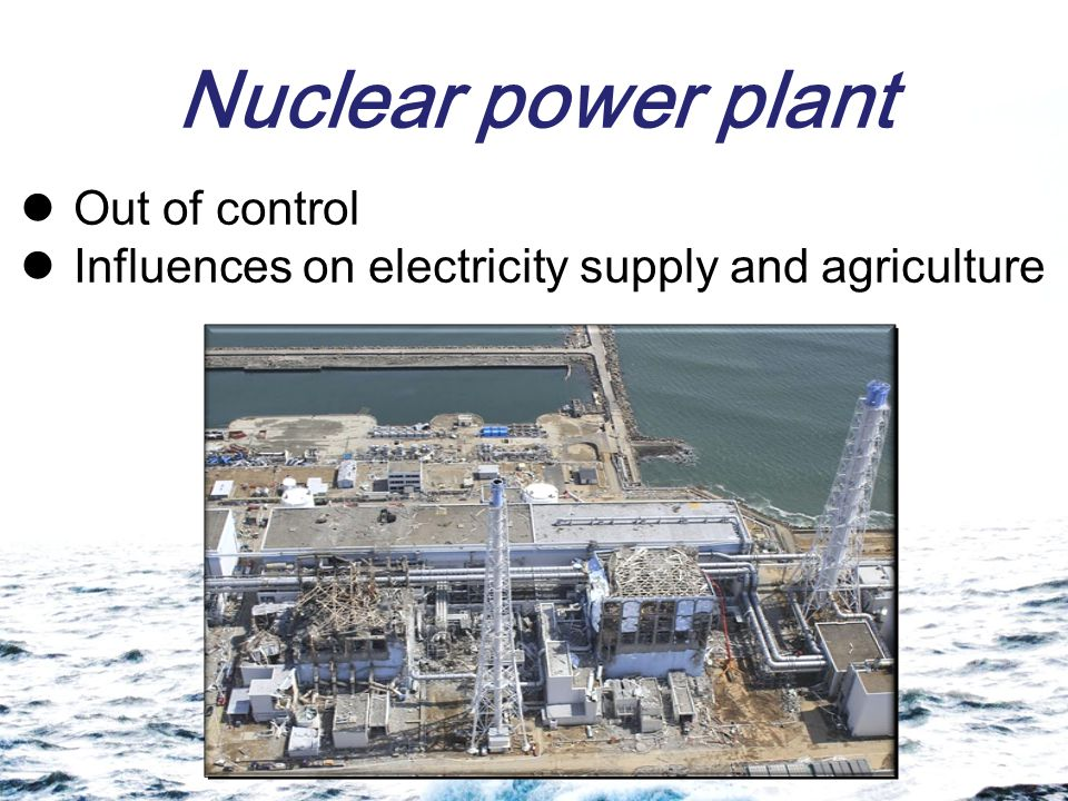 Nuclear power plant Out of control Influences on electricity supply and agriculture