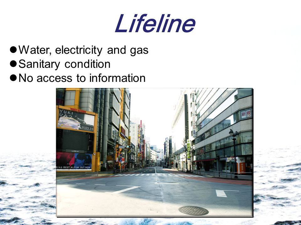 Lifeline Water, electricity and gas Sanitary condition No access to information