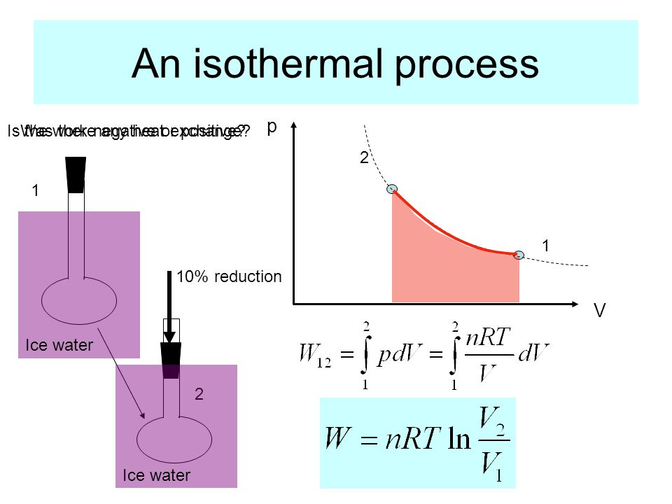An isothermal process p V 1 2 1 2 Ice water Is the work negative or positive.