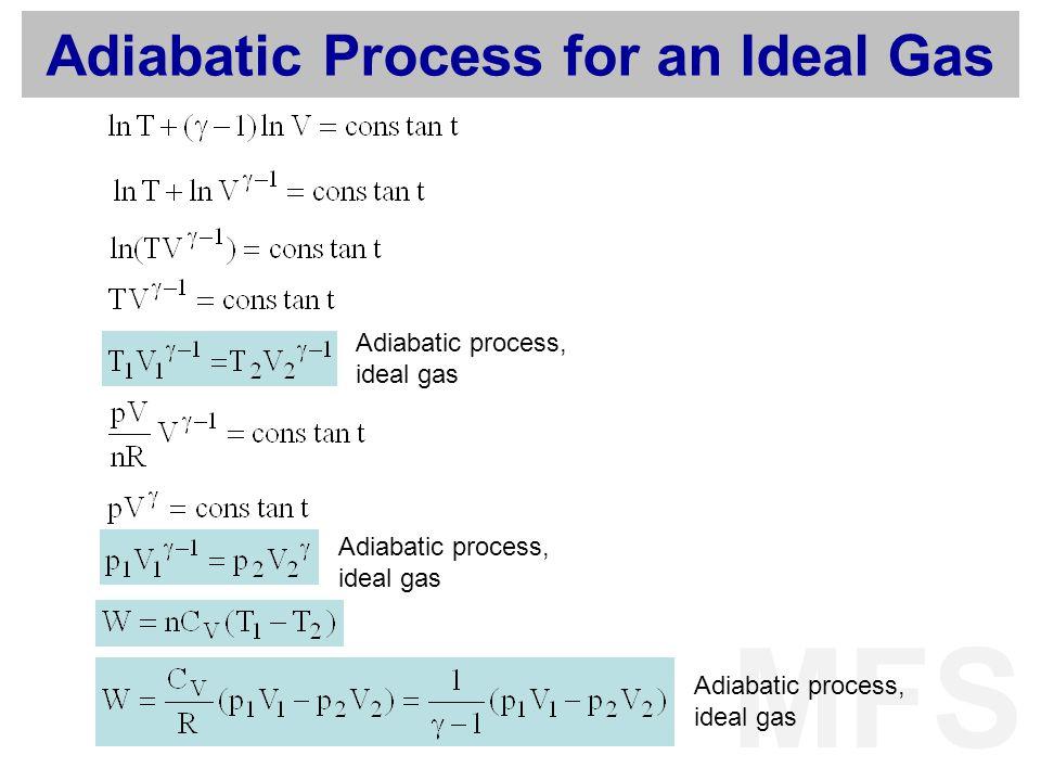 MFS Adiabatic Process for an Ideal Gas Adiabatic process, ideal gas