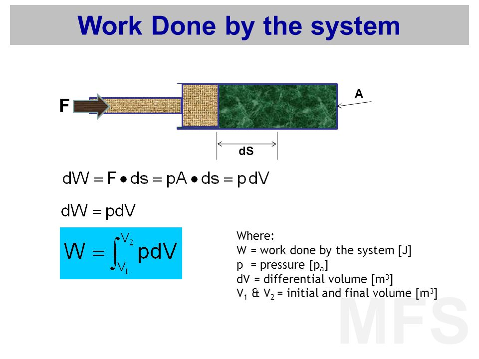 MFS Work Done by the system Where: W = work done by the system [J] p = pressure [p a ] dV = differential volume [m 3 ] V 1 & V 2 = initial and final v