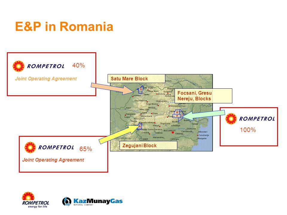 E&P in Romania Joint Operating Agreement Zegujani Block Satu Mare Block Focsani, Gresu Nereju, Blocks 40% 65% 100%