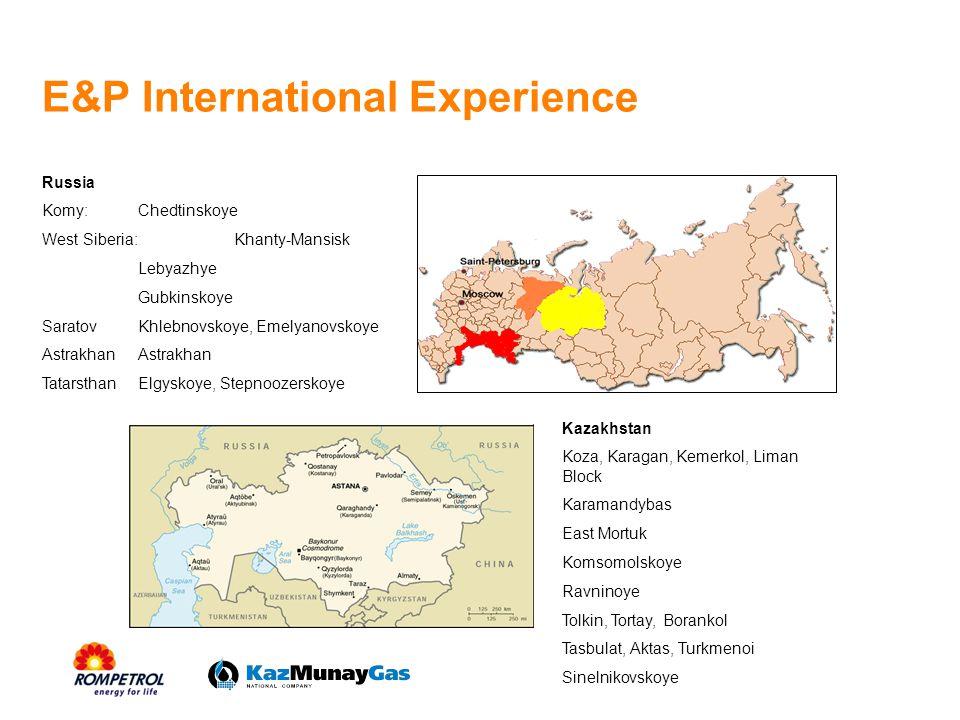 E&P International Experience Russia Komy:Chedtinskoye West Siberia: Khanty-Mansisk Lebyazhye Gubkinskoye SaratovKhlebnovskoye, EmelyanovskoyeAstrakhan