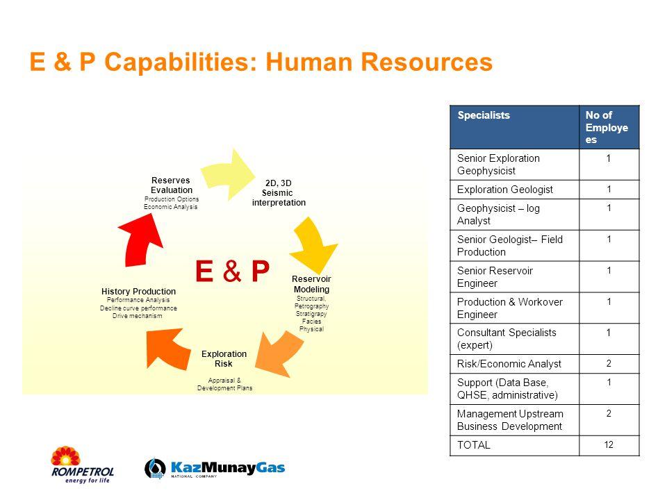 E&P capabilities: Hardware & Software Petrel 07 - 2 licenses seismic interpretation, 1 for reservoir modeling.