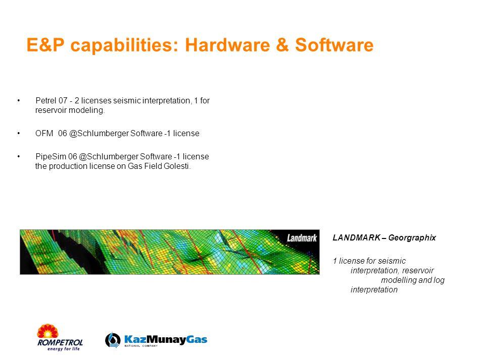 E&P capabilities: Hardware & Software Petrel 07 - 2 licenses seismic interpretation, 1 for reservoir modeling. OFM 06 @Schlumberger Software -1 licens
