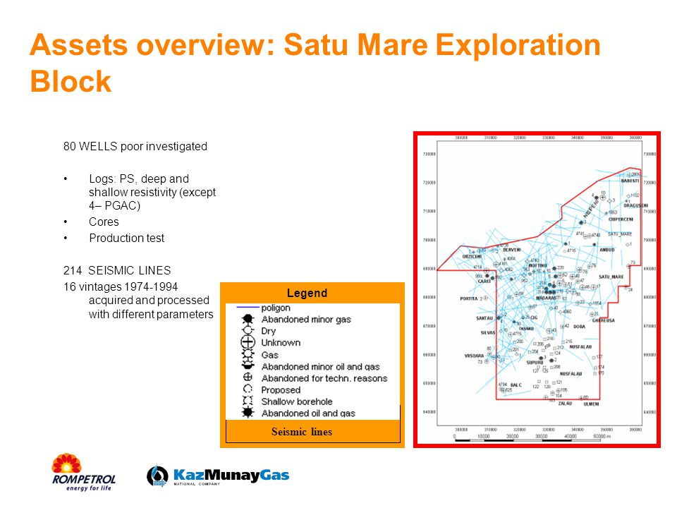 Assets overview: Satu Mare Exploration Block 80 WELLS poor investigated Logs: PS, deep and shallow resistivity (except 4– PGAC) Cores Production test