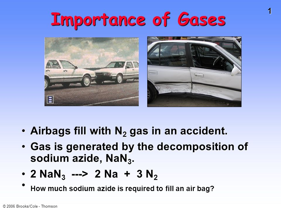 1 © 2006 Brooks/Cole - Thomson Importance of Gases Airbags fill with N 2 gas in an accident.Airbags fill with N 2 gas in an accident.