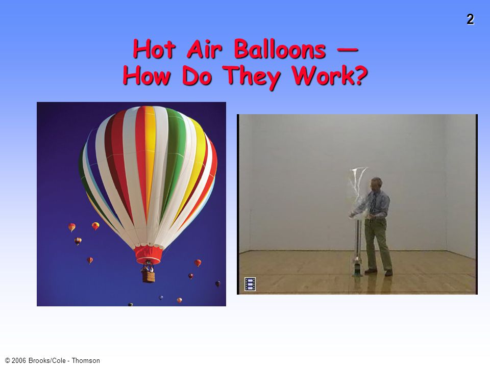 13 © 2006 Brooks/Cole - Thomson Charles s Law Balloons immersed in liquid N 2 (at -196 ˚C) will shrink as the air cools (and is liquefied).