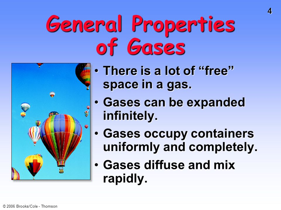 5 © 2006 Brooks/Cole - Thomson Properties of Gases Gas properties can be modeled using math.