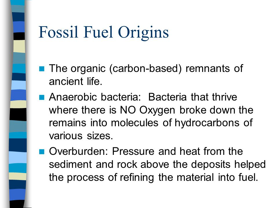 Fossil Fuel Origins The organic (carbon-based) remnants of ancient life.