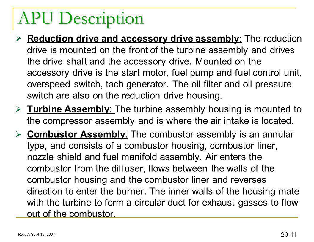 32 Rev. A Sept 18, 2007 20- APU Clutch APU Driveshaft MGB Accessory Section