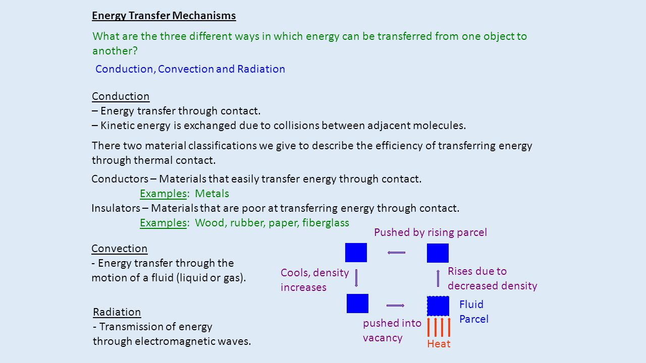 Fluid Parcel Energy Transfer Mechanisms What are the three different ways in which energy can be transferred from one object to another? Conduction, C