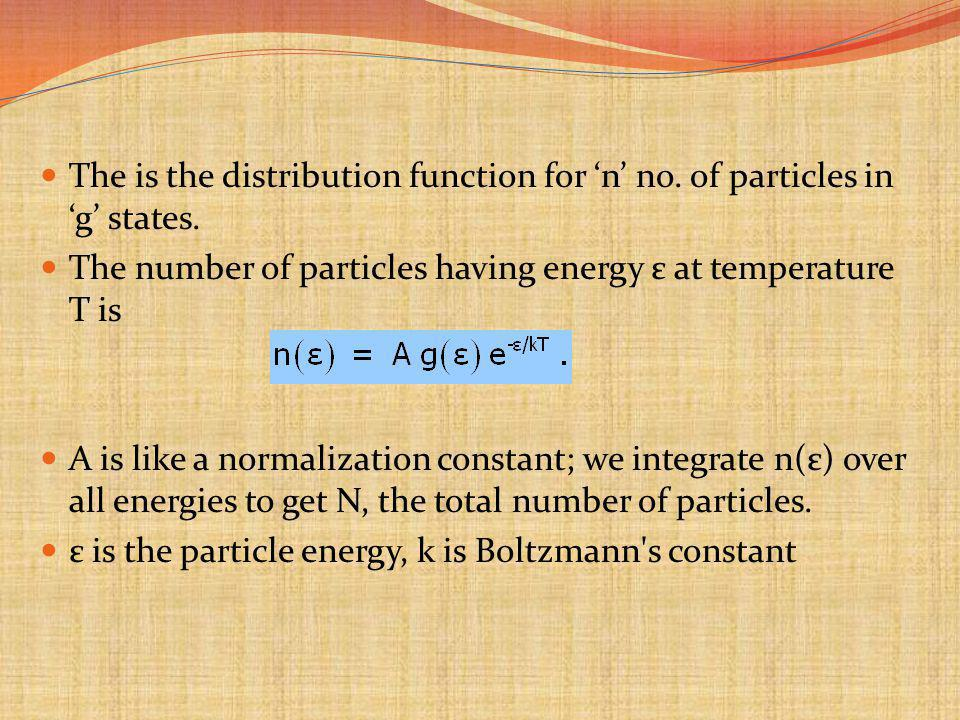 The is the distribution function for n no.of particles in g states.