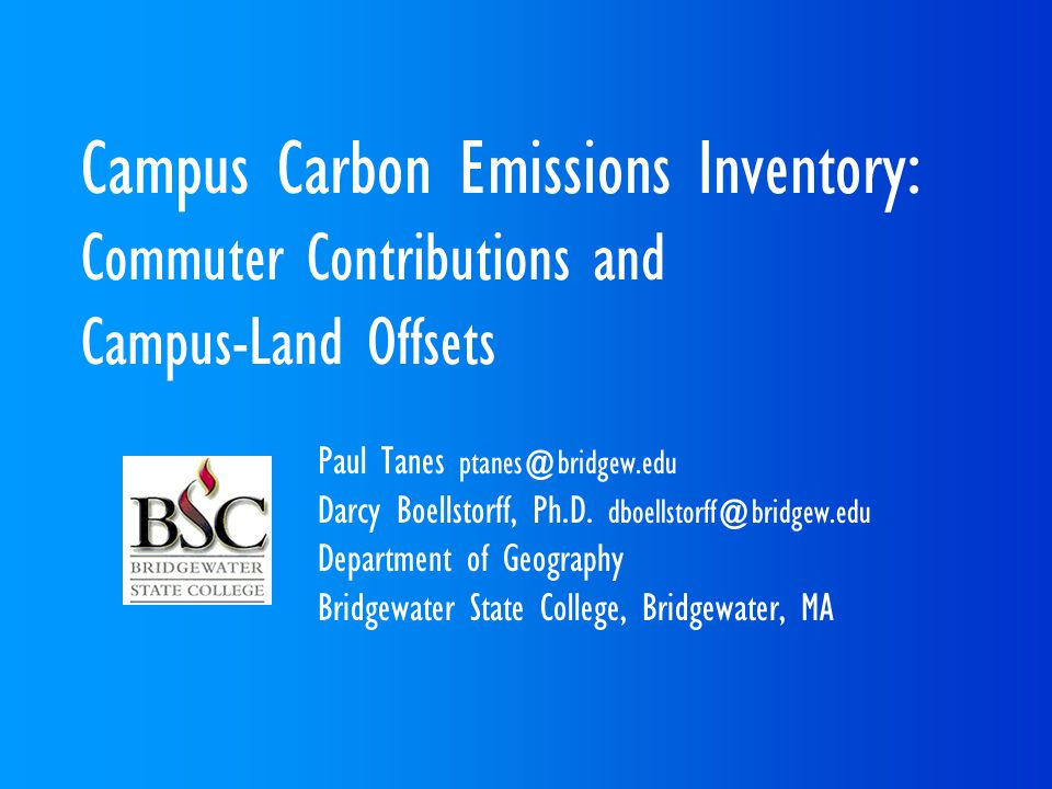 Campus Carbon Emissions Inventory: Commuter Contributions and Campus-Land Offsets Paul Tanes Darcy Boellstorff, Ph.D.