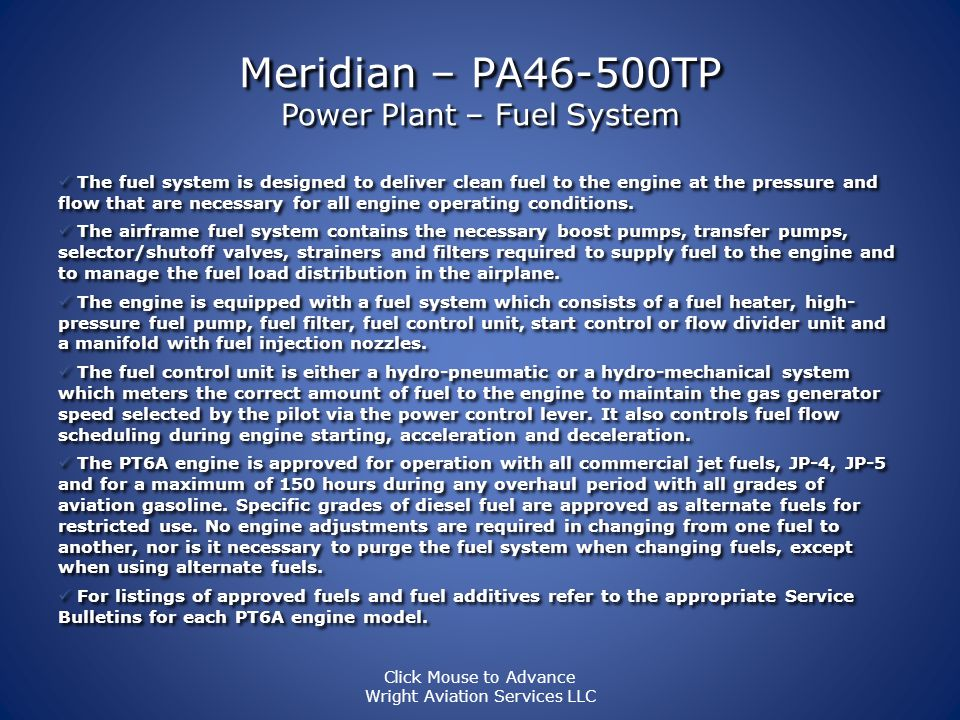 Meridian – PA46-500TP Power Plant The accessory gearbox, mounted on the rear of the engine, is used to drive the following engine accessories: · High-