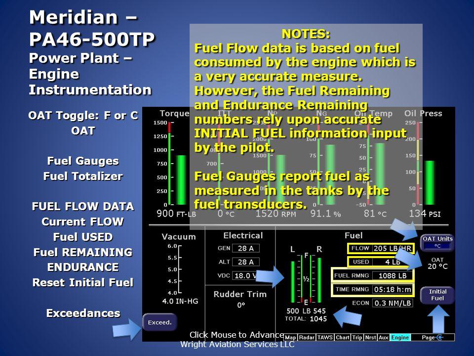 Meridian – PA46-500TP Power Plant – Engine Instrumentation Torque Gauge ITT Temp Gauge Np - Propeller RPMs Ng – Gas Turbine Percent RPMs Oil Pressure