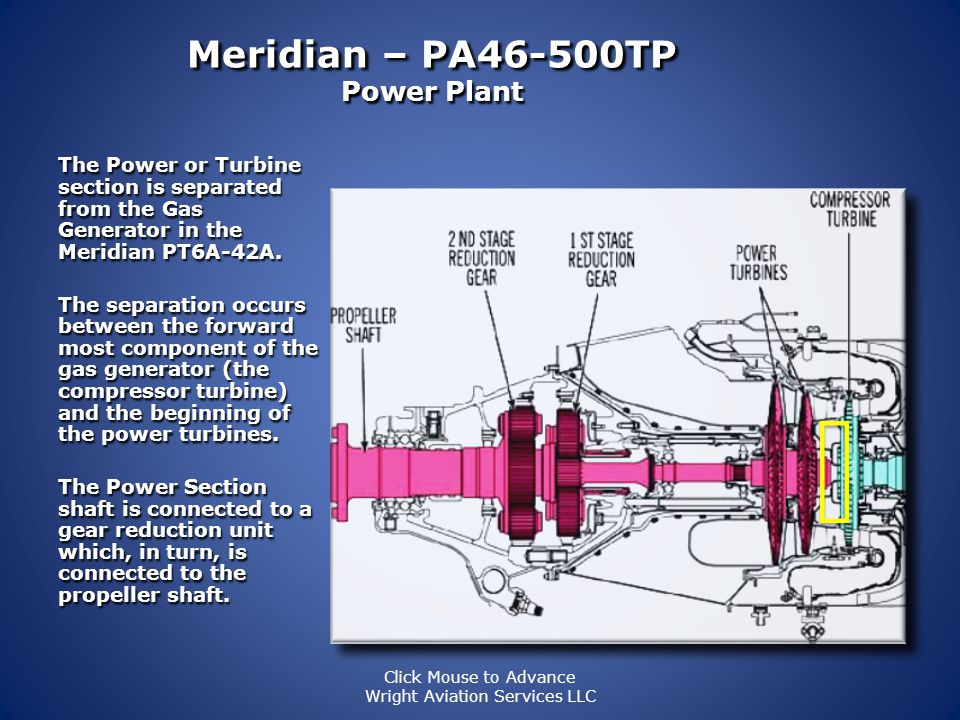Meridian – PA46-500TP Power Plant The gas generator section takes outside air, compresses it and delivers it to the combustion chamber. The gas genera