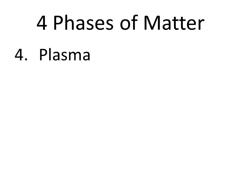 4 Phases of Matter 4.Plasma