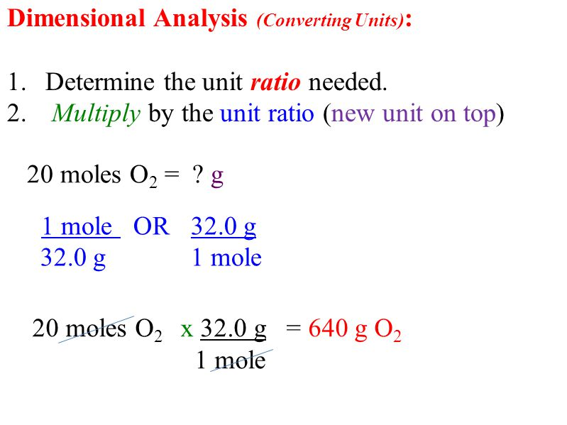 Dimensional Analysis (Converting Units) : 1.Determine the unit ratio needed.