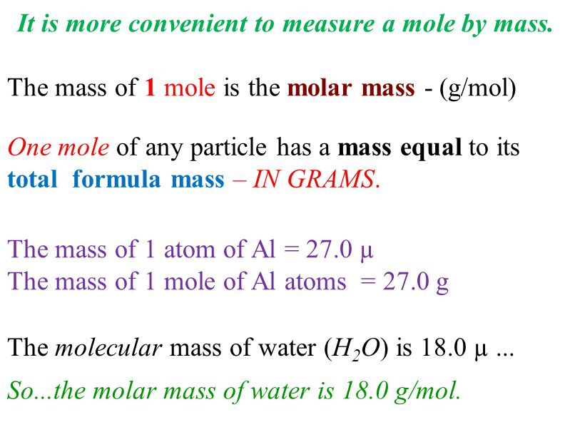 The molecular mass of water (H 2 O) is 18.0 µ...