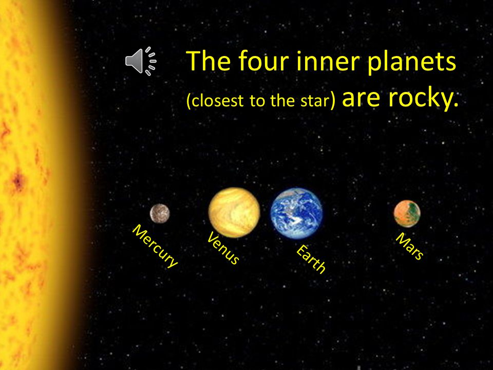 J j The four inner planets (closest to the star ) are rocky. Mercury Earth Venus Mars